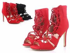 """Red Color Prom Homecoming Ankle Lace Up Womens 4"""" High Heels Sandals Size 6.5"""