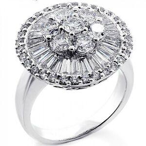 2.87ct Natural Round & Baguette Diamond (I-J,SI1) Cocktail Ring 14k White Gold
