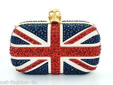 Alexander MCQUEEN Union Jack SWAROVSKI Britannia teschio clutch bag BNWT