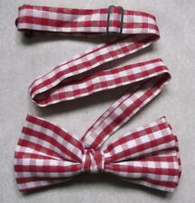Bow Tie Mens NEW Bowtie Adjustable Dickie SPARKLING RED WHITE CHECKED