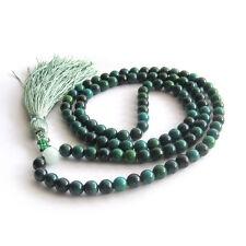 100% Fashion 6mm Dark Green Jade Tibet Buddhist 108 Prayer Beads Mala Necklace+A