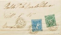 España. Cataluña. History Postal. Over 164, 154. 1875. 10 Cts Blue And 5 Cts See