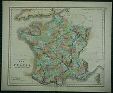 1850 LARGE ANTIQUE HAND COLOURED MAP ~ FRANCE IN DEPARTMENTS CHARENTE GARONNE