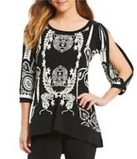 22c504bee27 Eva Varro Black White Scroll Print Hi Low Banded Hem Tunic Top S NWT $148