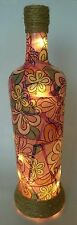 Hand Decorated Glass Bottle Light, Lantern. Battery Powered. Gift. Pink, Floral.