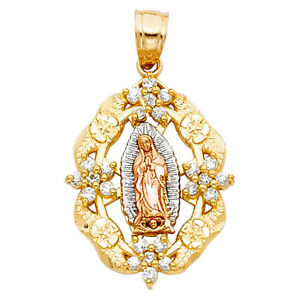 14k Yellow White Rose Solid Gold Virgin Mary With CZ  Pendant Charm Portrait
