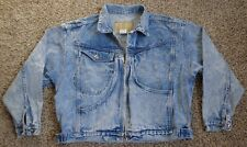 Vtg 80s 90s Acid Wash Jean Jacket Punk Denim Zip Pockets Crop Cool Mens Small S