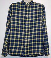 H&M Men's  Blue Yellow Plaid Cotton Shirt Size XL NEW