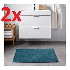 2x IKEA Toftbo Non-slip Microfibre Bathroom Bath Mat Bathmat Rug 60x90cm in Aqua