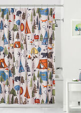 Camping Fabric Shower Curtain 70x72 Lodge Cabin Woods Woodland Northwoods Bear …
