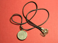 "Necklace WW2 German 1940-1944 5 Pfennig leather Chain 18"""