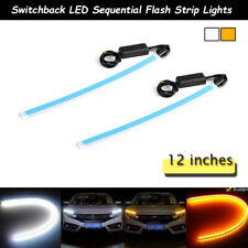 12'' Switchback Flexible LED Tube DRL Turn Signal Light Strips Kit For Headlight