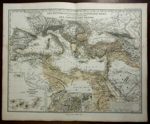 Mediterranean Sea Black Sea Ottoman Empire Italy 1857 Stulpnagel detailed map