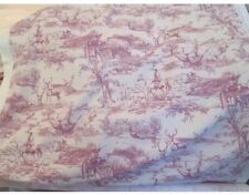 "The Hunt Stag Scene Toile De Jouy Ready Made Curtains 72"" W x 90"" D In Raspberry"
