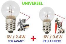 KIT AMPOULE VELO AVANT + ARRIERE / 6V 0.6W + 2.4W DYNAMO FEU LAMPE VILLE VINTAGE