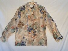 Alfred Dunner women's L 12 floral burnout sheer, button long sleeve blouse top