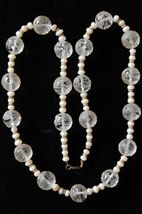 "Beautiful Large Hand Crafted Dragon Crystal Beads and Pearl Necklace 31"" Long"