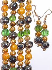 Vintage Glass Bead Necklaces Earrings LOT 3 India Gold Silver Art Glass 70s