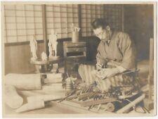 Japanese Statuette Carver at Work Vintage 1920s Silver Gelatin Photo in Japan