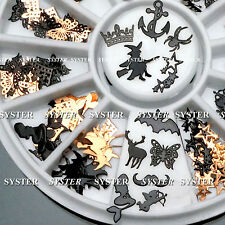 120 Pcs 3D Metal DIY Nail Art Tips Stickers Decal Black Slices Decoration+Wheel