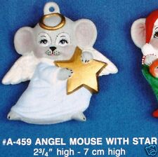 Ceramic Bisque Christmas Ornament Angel Mouse with Star Alberta Mold 459 U-Paint