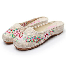 Women Embroidery Floral Peking National Style Slipper Slip On Summer Slides Shoe