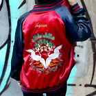 Red Blue Embroidered Satin Double Sided Bomber Jacket Japan Crane Knotty Pine Se