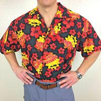 Hawaiian Tropic Men's Red, Black & Yellow Button up Short Sleeve Shirt Sz XL