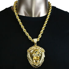 "Plated 10mm 24"" Inch Rope Chain Set Xl Lion Crown Gorilla Hip Hop Pendant Gold"