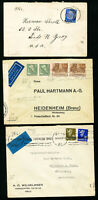 Germany Stamps Lot of 5 Flown Covers Censored by Third Reich VF