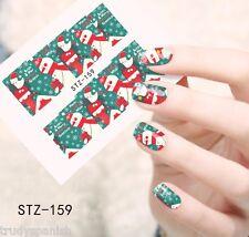 Full Wrap Water Transfers Nail Art Stickers Decals Christmas Santa Snowman (159)