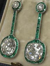 9ct Dangle Earrings Solid 925 Sterling Silver Cushion Green Baguette Jewelry Cz