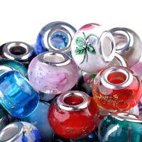 50 Stk Glasperlen Großloch Perlen Mixed Schmuck Basteln Perlen Deko Armband NEU