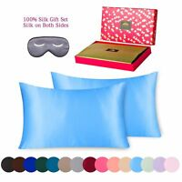 Pure Mulberry Natural Silk Pillowcase 3 piece Gift Set - Queen  Blue