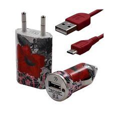 Mini Chargeur 3en1 Auto + Secteur USB + Câble Data avec CV01 pour HTC : One /