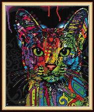 Colorful Cat Cross stitch Patterns DIY Handwork Canvas Christmas