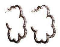 Swarovski Elements Crystal Flower Hoop Pierced Earrings Rhodium Authentic 7194z