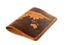 "Sale!!!Handmade Premium leather passport cover case ""World Map 3 D Print"".nxn"