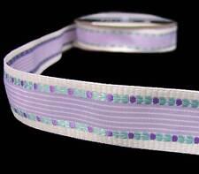 5 Y Lavender Purple Aqua Blue Woven Embroidered Flower Striped Fancy Free Ribbon