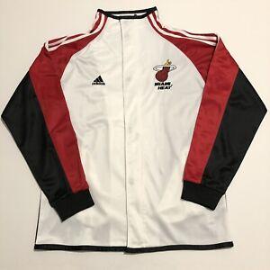 Adidas Miami Heat NBA Basketball Jacket Warm Up Full Zip Snap Button Size 44
