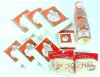Vintage AMERICAN GREETINGS Partyware SANTA CHRISTMAS HOLIDAY Napkins & Cups Lot