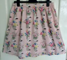 GORGEOUS CATH KIDSTON PINK FLOWER POTS COTTON LINED SKIRT - LARGE - BRAND NEW!