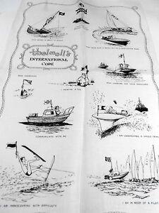 Vintage Souvenir Teatowel INTERNATIONAL CODE BY THRELWELL PURE LINEN BRANC NEW