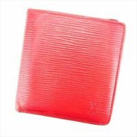 Louis Vuitton Wallet Purse Bifold Epi Red Epi Leather Woman Authentic Used E1312