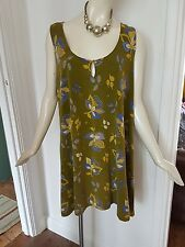 GUDRUN SJODEN SMOCK TUNIC FLORAL TOP SIZE XL 18 20 22 LAGENLOOK LAYERING