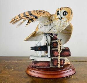 Franklin Mint Porcelain Bird Figure of The Tawny Owl Painted George McMonigle