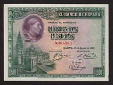 F.C. 500 PESETAS 1928 , SIN SERIE , EBC+ , LATERAL DERECHO MAL CORTADO .