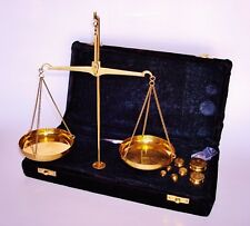 Vintage Portable Brass Balance Scale in a Blue Velvet Covered Case