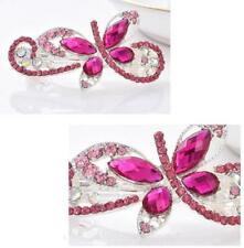 Fashion Women Crystal peacock crystal Pink Barrette Hair Clip Clamp Hairpin New