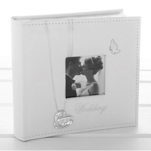 WHITE FAUX LEATHER WEDDING DAY PHOTO ALBUM WITH INTERTWINED WEDDING RINGS AND BU